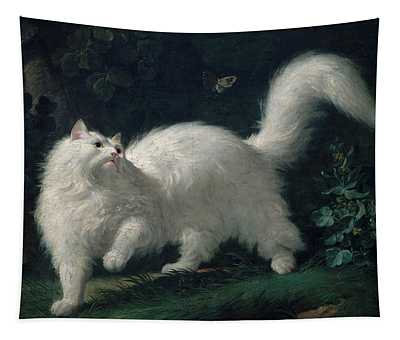White Angora Cat Chasing A Butterfly, 1761 Tapestry