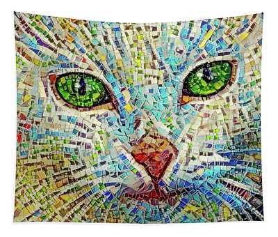 White Cat Mosaic Tapestry