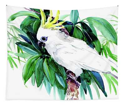 White Cockatoo Parrot And Tropical Foliage, Bird Art Tapestry