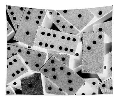 White Dots Black Chips Tapestry