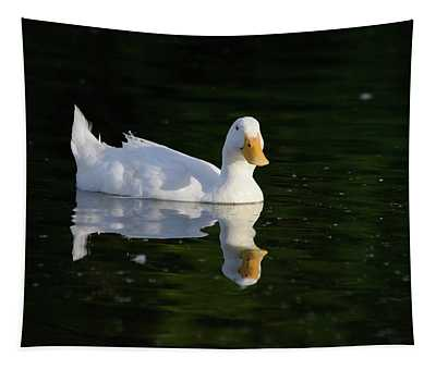 White Duck On Pond Tapestry