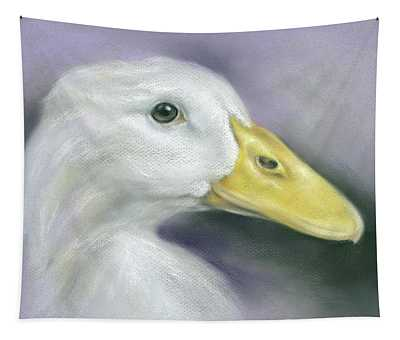 White Duck On Purple Tapestry