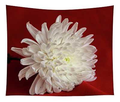 White Flower On Red-1 Tapestry