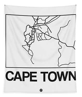 White Map Of Cape Town Tapestry