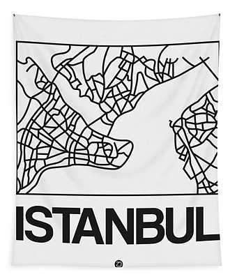 White Map Of Istanbul Tapestry