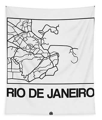 White Map Of Rio De Janeiro Tapestry