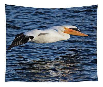 White Pelican Cruising Tapestry