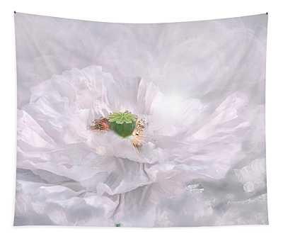 White Poppy Haze Tapestry