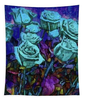 White Roses In The Garden On A Moonlit Night Tapestry