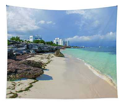 White Sandy Beach Of Cancun Tapestry