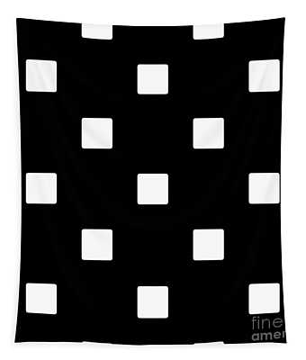 White Squares On A Black Background- Ddh576 Tapestry