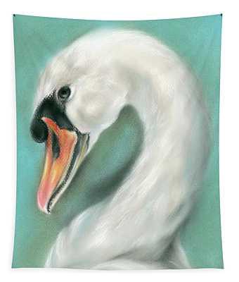 White Swan Portrait Tapestry