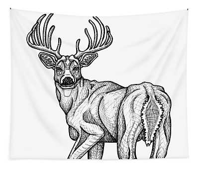 Tapestry featuring the drawing White Tailed Buck by Amy E Fraser