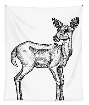 White Tailed Doe Tapestry