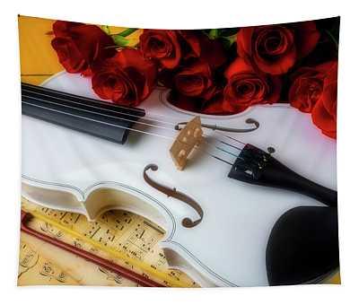 White Violin Still Life Tapestry