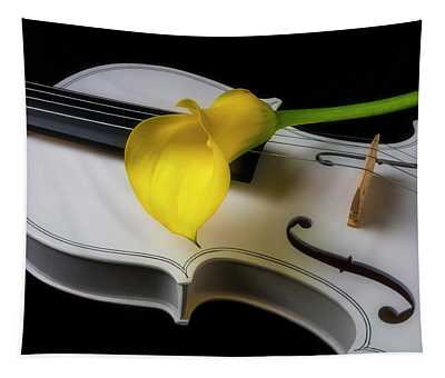 White Violin With Yellow Calla Lily Tapestry
