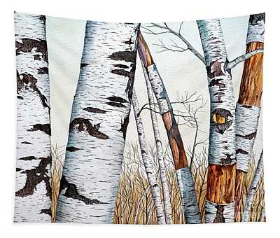 Wild Birch Trees In The Forest In Watercolor Tapestry