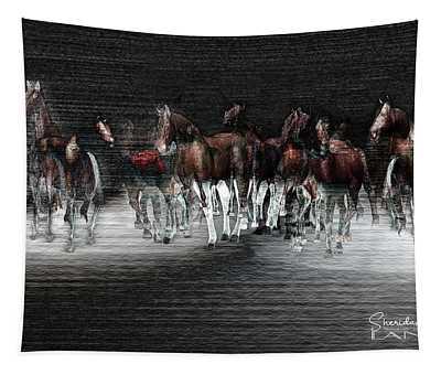 Wild Horses Under Spotlight Tapestry