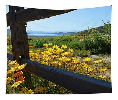 Wildflowers Over The Lake Tapestry