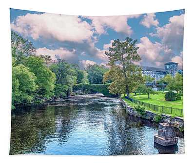 Willimantic River With Clouds Tapestry