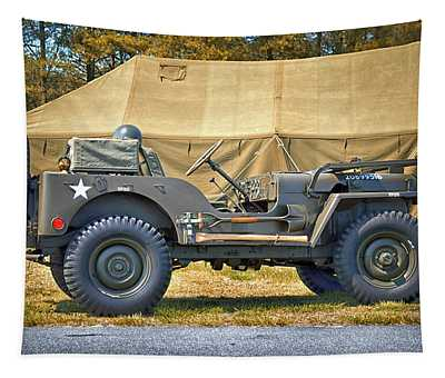 Tapestry featuring the photograph Willys Jeep U S A 20899516 At Fort Miles by Bill Swartwout Fine Art Photography