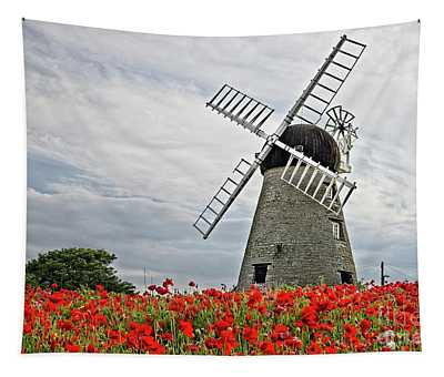 Windmill And Poppies Tapestry