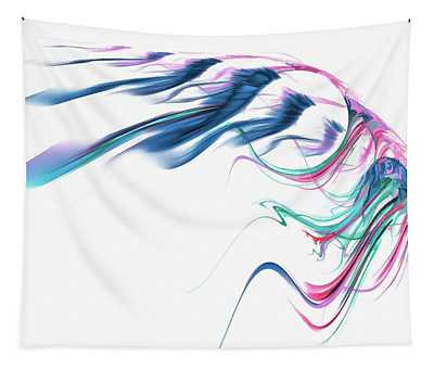 Wing Of Beauty Art Abstract Blue Tapestry