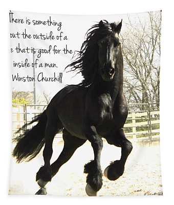Winston Churchill Horse Quote Tapestry