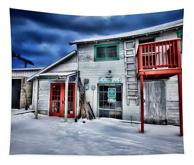 Winter At Fishtown Michigan Tapestry