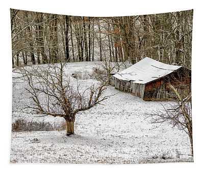 Winter Barn Farm Scene Tapestry