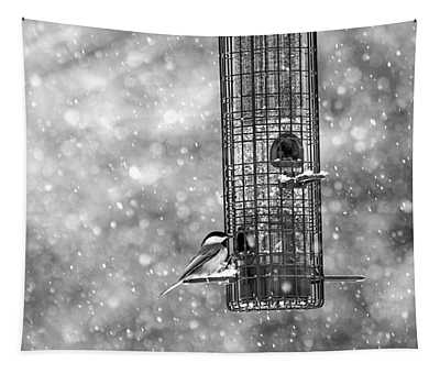 Winter Blessing Chickadee Tapestry