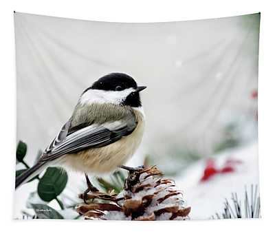 Winter Chickadee Tapestry