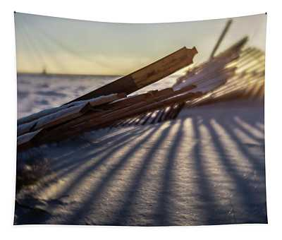 Winter Dunes Fence At Sunrise  Tapestry
