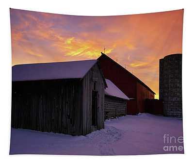 Winter Farm Chores Tapestry