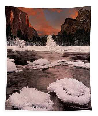 Winter Gates Of The Valley Yosemite National Park Cal Tapestry
