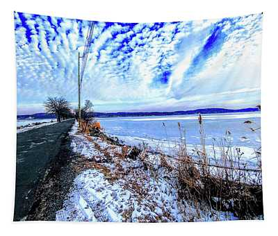 Winter Hudson River Causeway Tapestry