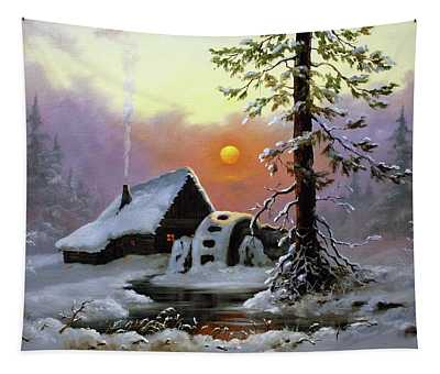 Winter Landscape With A Mill Tapestry
