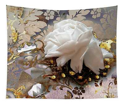 Winter Rose, Golden Light Jewelry Fantasy Art Tapestry