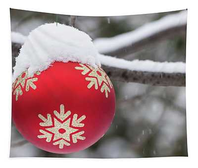 Winter Scene - Red Christmas Ball Outside, With Snow On It Tapestry