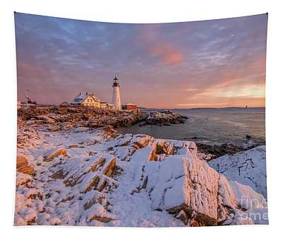 Winter Sunrise At Portland Head Light Tapestry