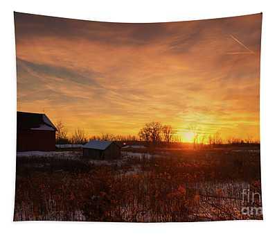 Winter Sunset Blessings Tapestry