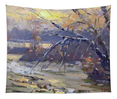 Winter Sunset By Niagara River Tapestry