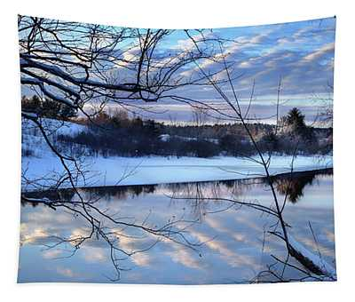 Winter Sunset Over The Messalonskee Stream Tapestry