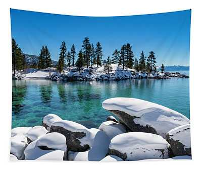 Winter Wave - Sand Harbor Lake Tahoe By Brad Scott Tapestry