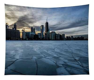 Wintry Dusk Scene On Chicago's Lakefront  Tapestry