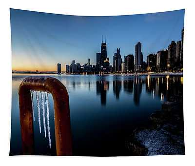 Wintry Lakefront Scene In Chicago  Tapestry
