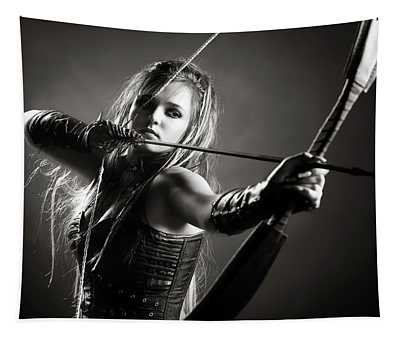 Woman Archer Aiming Arrow Tapestry