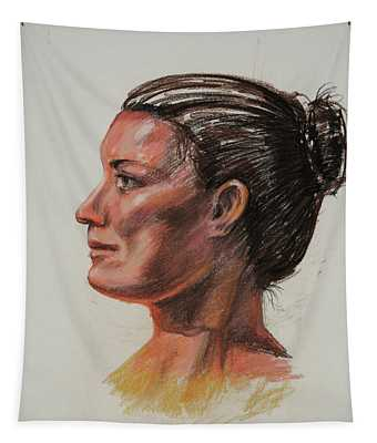Woman Head Study Pastel Portrait  Tapestry