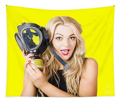 Woman In Fear Holding Gas Mask On White Background Tapestry