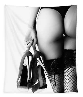 Woman In Lingerie Rear View Tapestry